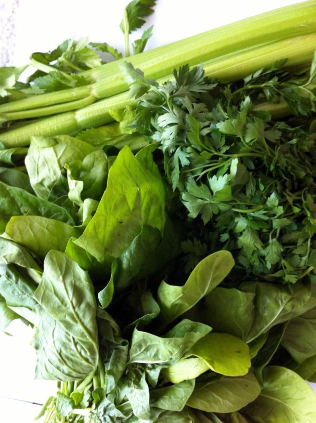 spinachparsleycelery